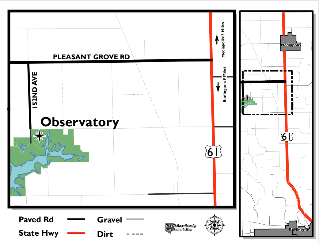 Map to Observatory from Burlington